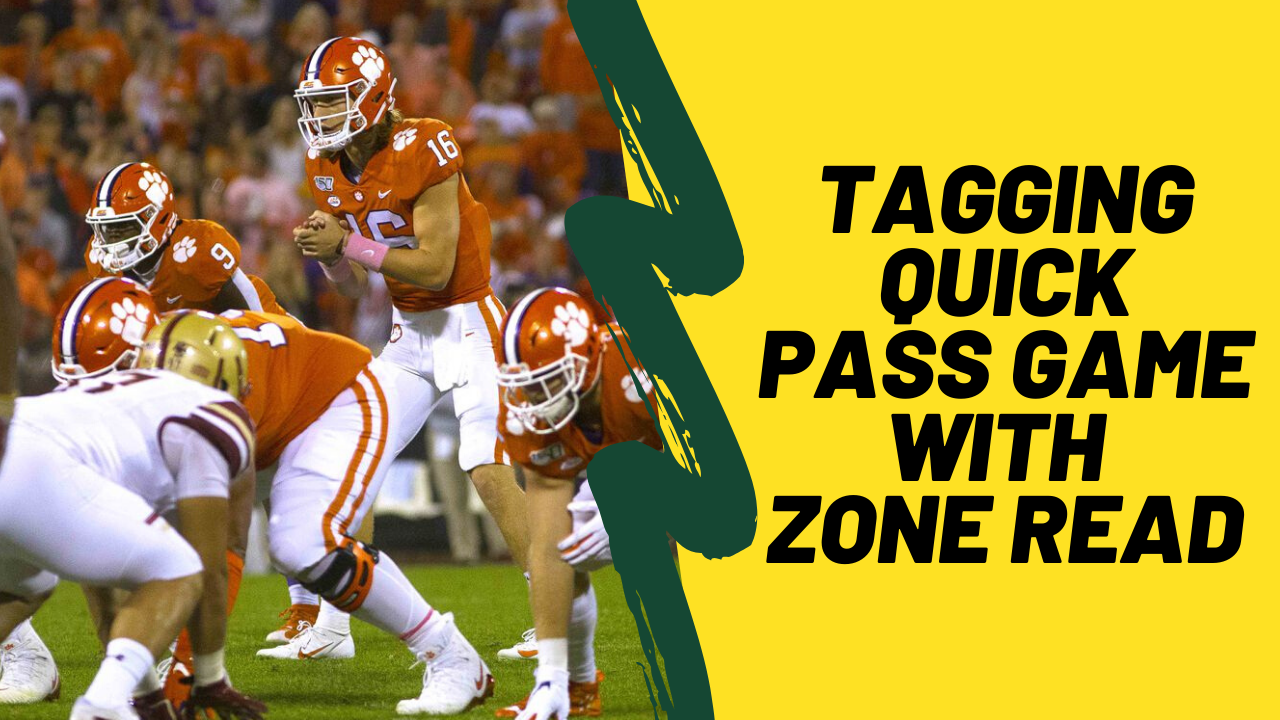 tagging quick pass game with zone read - trevor lawrence clemson - spread offense