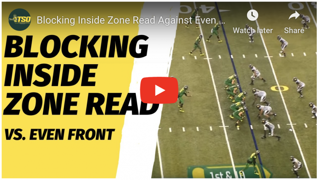 Blocking Inside Zone Read Against an Even Front Video